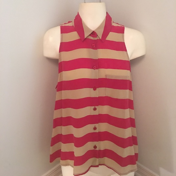 Equipment Tops - Equipment Femme Silk Sleeveless Shirt Red Stripe S